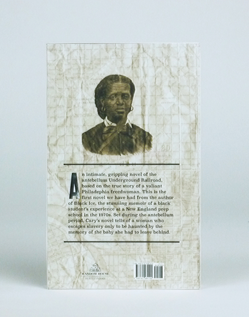 Back of Price of a Child book cover. A pen and ink portrait of an African American woman above the synopsis of the book.