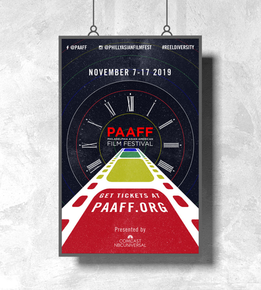 PAAFF 2019 poster. Social media info lines the top of the poster. November 7-17 2019 date below. Colorful filmstrip recedes into a time portal leading to PAAFF logo. Get tickets at paaff.org and presenting sponsor: Comcast below. Starry space background.